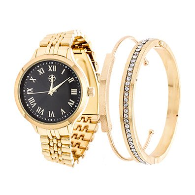Fortune NYC Arm Candy Ladies Fashion Gold Case / Black Dial Watch with a Set of 2 Bracelets - Candy Store Nyc