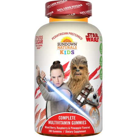 Sundown Naturals Kids Star Wars Complete Multivitamin Gummies, Berry Raspberry Pineapple, 200 Ct (Sundown Gummy Vitamin)