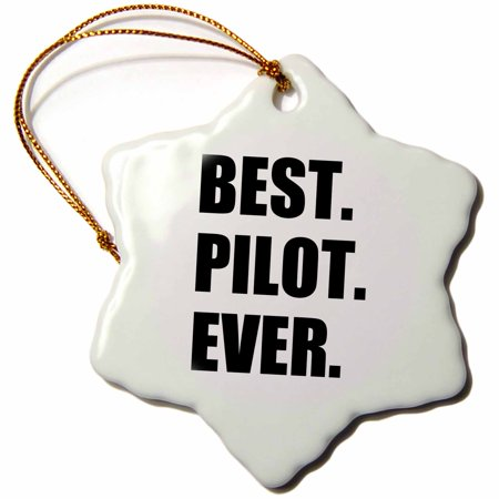 3dRose Best Pilot Ever, fun appreciation gift for talented airplane pilots, Snowflake Ornament, Porcelain,
