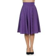 Classic Retro 1950s Polka Dot Back Smock Swing Skirt- Purple Size Small W29