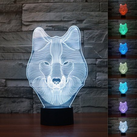 - 3D Night Light Animals Wolf 3D Lamp LED Illusion Light Touch Table Desk Lamps, 7 Color Changing Lights with Acrylic Flat & ABS Base & USB Charger for Kids,Lover Christmas Gift
