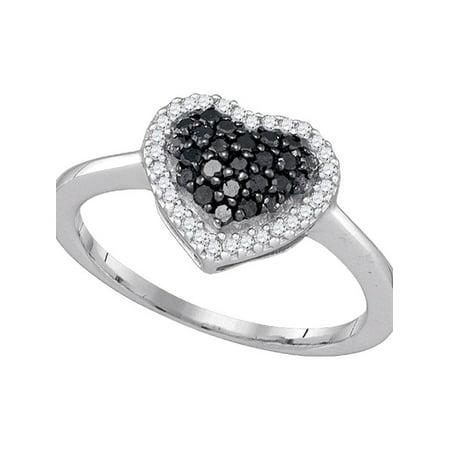 10k White Gold Black Color Enhanced Round Diamond Cluster Womens Love Heart Ring 1/3 Cttw - image 1 of 1