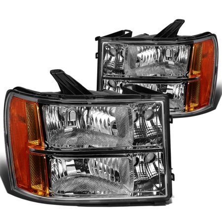 For 2007 to 2013 GMC Sierra 1500 / 2500HD / 3500HD GMT 900 Chrome Housing Amber Corner Headlight Headlamp 08 09 10 11 12 Left+Right
