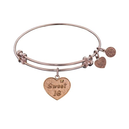 Angelica Collection Pink Brass Sweet 16 Birthday Bangle Bracelet (Contemporary Bangle Collection)