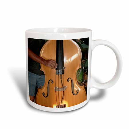 3dRose upright bass with male hands, Ceramic Mug, 15-ounce