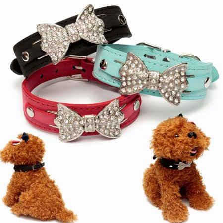 16'' Length Dog Cat Shiny Bling Bow Leather Silver Rhinestone Collar Pet Adjustable Choker - Cat Choker
