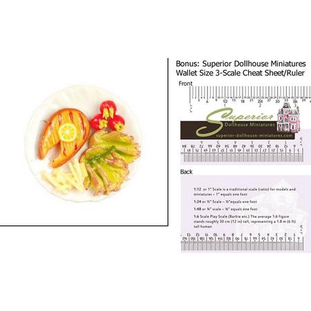 Dollhouse Miniature Salmon Steak Dish W 3 Scale Wallet Ruler