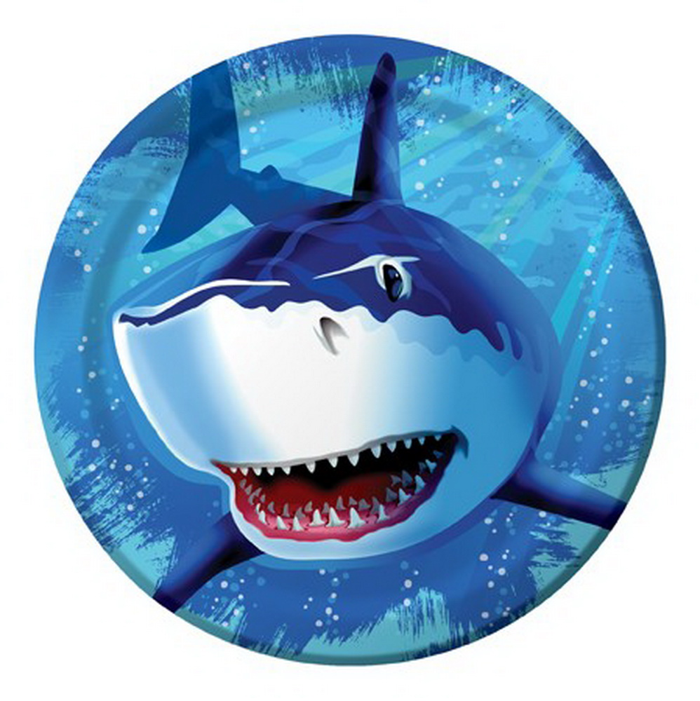 "(Price/Case)Creative Converting 425887 Shark Splash 9"" Dinner Plates (Case of 96)"