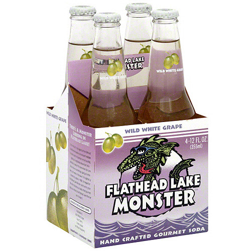 Flathead Lake Wild White Grape Soda, 12 oz, 4ct (Pack of 6)