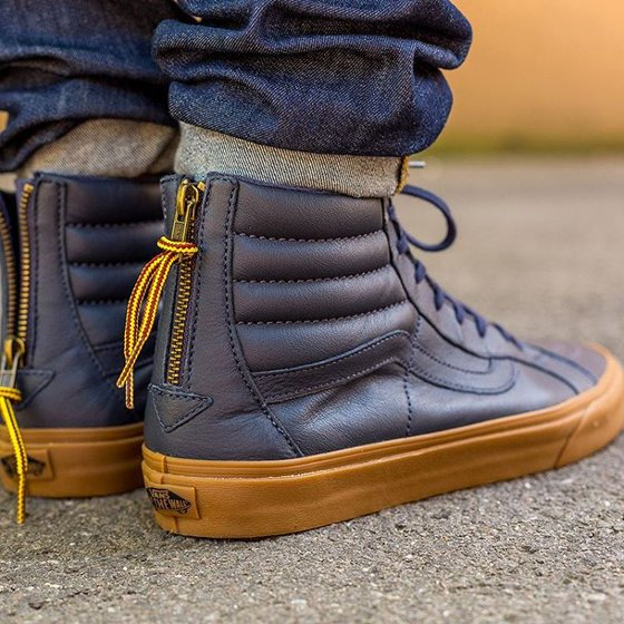 f30ab98d1dd266 With a casual style the Sk8-Hi Reissue Zip Hiking shoes by Vans cannot be  beat. Vans SK8 Hi Reissue Zip Hiking Navy Gum Men s Classic Skate Shoes  Size 8