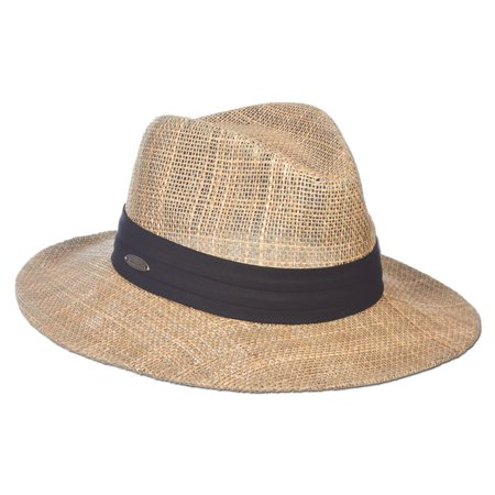 Panama Jack Dos Sombras Matte Seagrass Straw Safari Sun Hat with 3-Pleat Ribbon - Tropical Hat