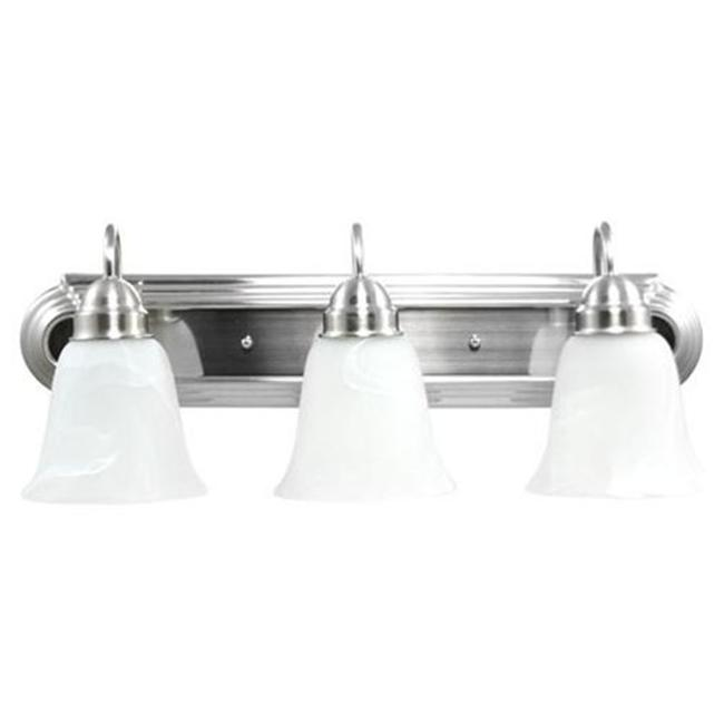 Efficient Lighting EL-210-03-318 Contemporary 3 Light Vanity  Brushed Nickel Finish with Alabaster Glass  Energy Star Qualified - image 1 of 1