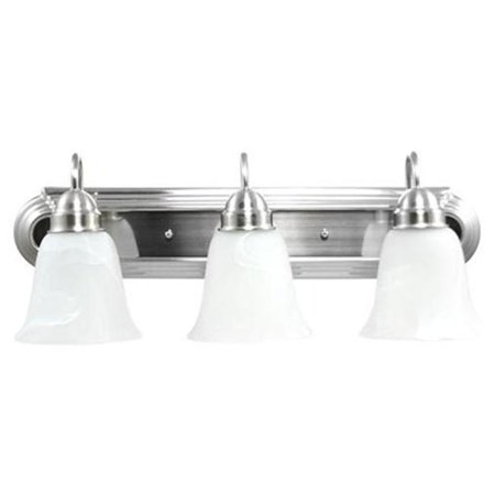 Efficient Lighting EL-210-03-318 Contemporary 3 Light Vanity  Brushed Nickel Finish with Alabaster Glass  Energy Star Qualified