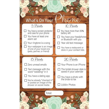 What's On Your Phone Rustic Bridal Shower Games ()
