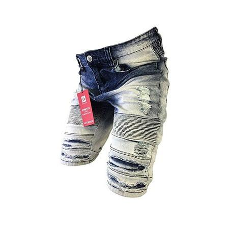 (Men's Victorious Jean Shorts Slim Fit Biker Zipper Distressed Acid Wash Denim Vintage Blue DS2017)