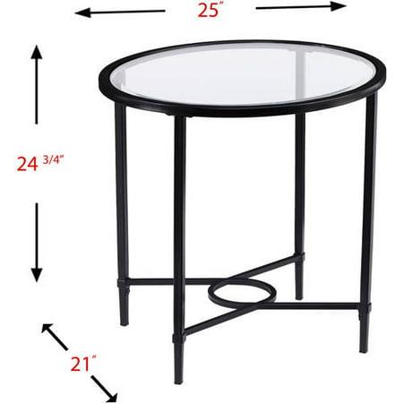 Southern Enterprises Quibilah Metal/Glass Oval Side Table