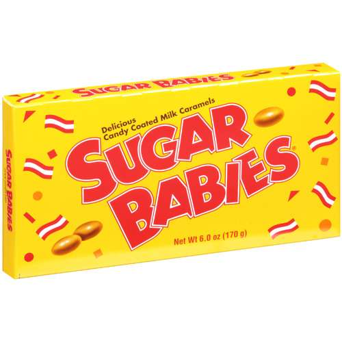SUGAR BABIES CANDY COATED MILK CARAMELS 6OZ THEATER BOX SHIPPER