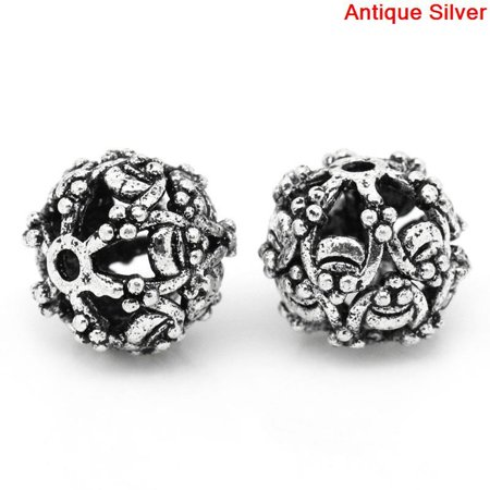 Sexy Sparkles 10 Pcs Silver Toned Round Flower Pattern Hollow Spacer Bead 10mm Dia, Hole: Approxx 1.1mm