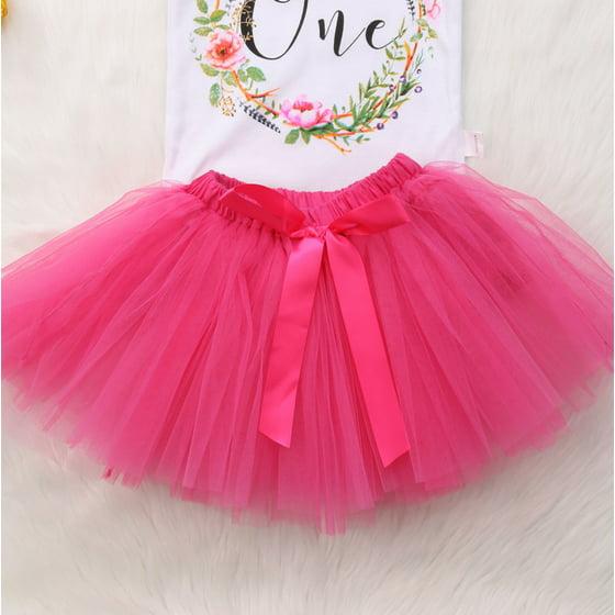1f611ea28e Gaono - 3PCS Boby Girls 1st Birthday Outfits Short Sleeve Bodysuit Romper+Tutu  Skirt And Headband - Walmart.com