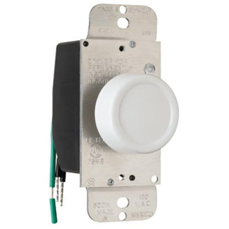 600w Single Pole Dimmer (90611WV Single Pole Rotary Dimmer, 600W, White )