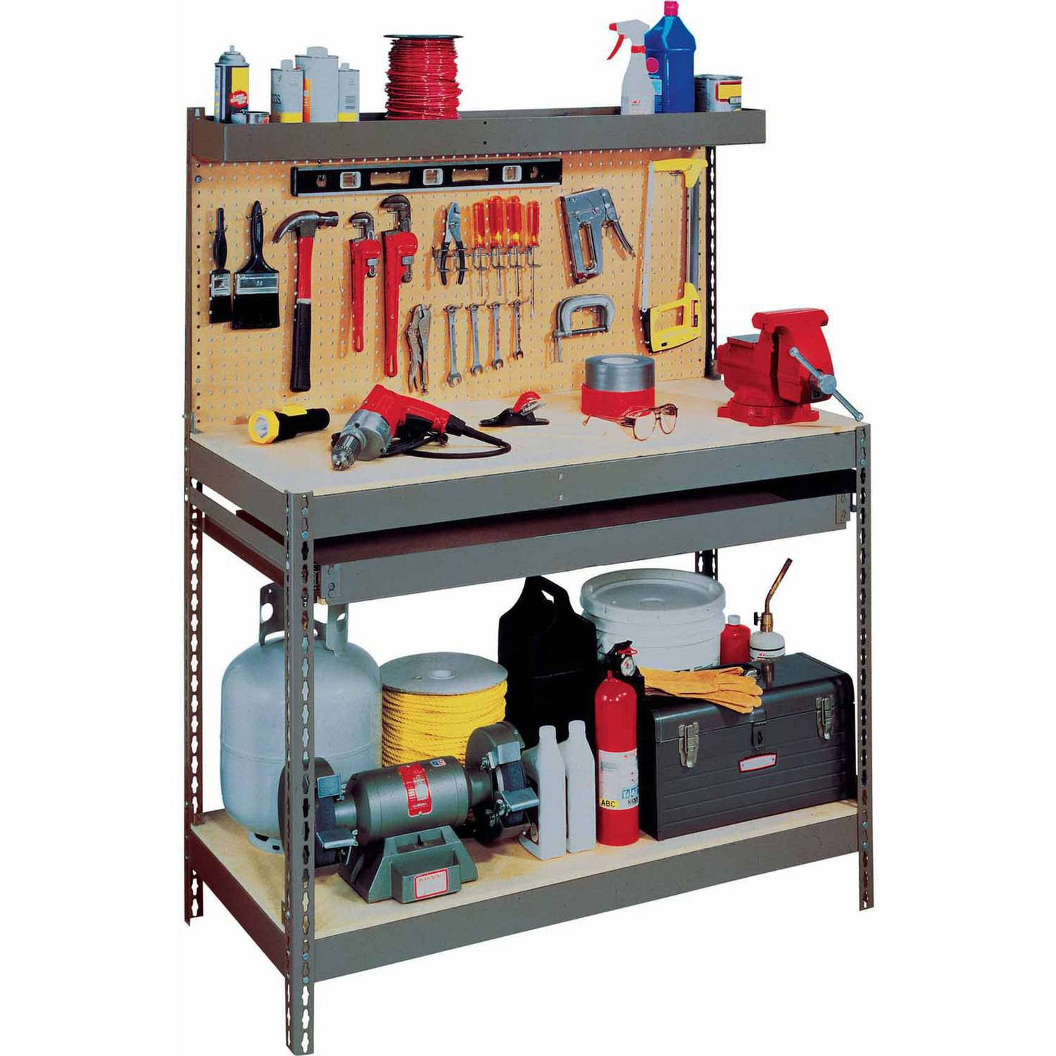 Edsal Heavy-Duty Steel Workbench with Single Drawer, MRWB-4