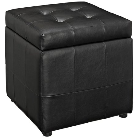 Miraculous Hawthorne Collection Square Faux Leather Storage Ottoman In Black Cjindustries Chair Design For Home Cjindustriesco