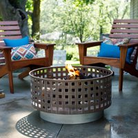 "GHP 30""x30""x16"" Raw Steel Rounded Lattice Heat-Resistant Open Grid Bowl Fire Pit"