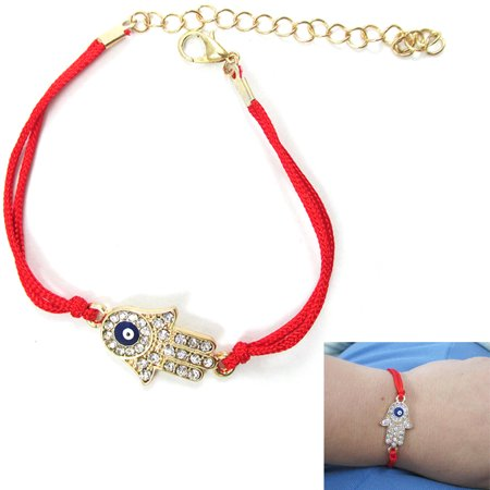 Evil Eye Hamsa Crystal Cz Gold Plated Hand Bracelet Red String Lucky Charm Gift](Red Glow Bracelets)