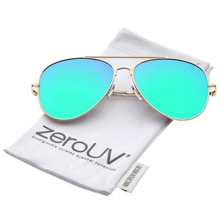 267513ed8b15f zeroUV - zeroUV - Large Metal Frame Colored Mirror Flat Lens Aviator  Sunglasses 60mm - 60mm - Walmart.com