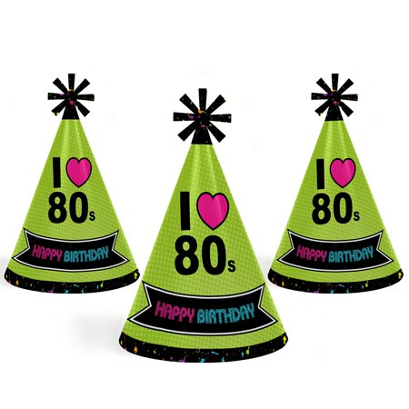 80's Retro - Cone Happy Birthday Party Hats for Kids and Adults - Set of 8 (Standard - Retro Happy Birthday