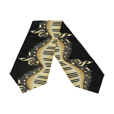 POPCreation Piano Keyboard Music Note Table Runner 13x70 Inches Black Table Top Decoration - Piano Runner