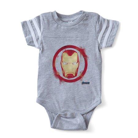 CafePress - Iron Man Head - Cute Infant Baby Football Bodysuit - Iron Man Baby
