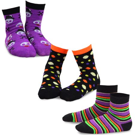 TeeHee Halloween Kids Cotton Fun Crew Socks 3-Pair Pack (Skull Stripes & Dots) - Halloween Crossfit Socks