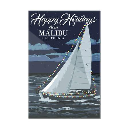 Malibu  California   Christmas Lights Sailboat   Lantern Press Artwork  8X12 Acrylic Wall Art Gallery Quality