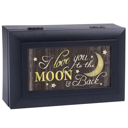 Love You To The Moon And Back Black Petite Music Box Plays What a Wonderful World