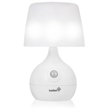 Ivation 12-LED Battery Operated Motion Sensing Table Lamp - Dual Color Range - Available Settings Include Manual & Automatic Motion & Light Sensing