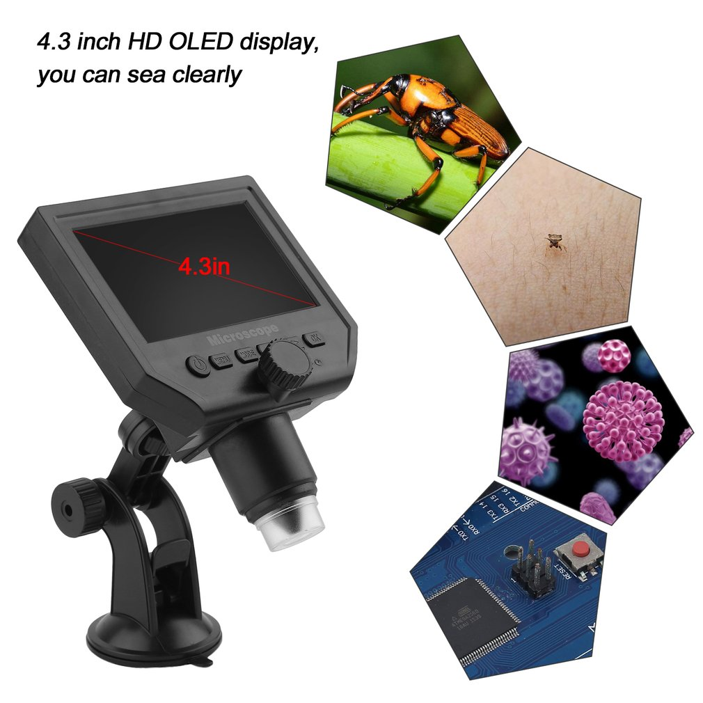 4.3inch HD OLED 3.6MP LCD 1080P Magnifier Amplifier Digital Microscope G600 by OUTAD