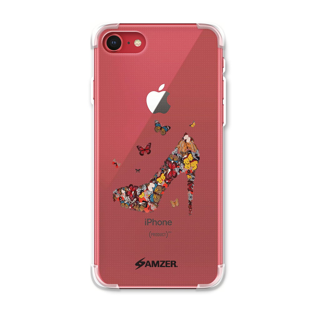 iPhone 7 Case - Butterfly High Heels, Premium Handcrafted Printed Designer Snap On Case Shock Absorption Reinforced Corners TPU Bumper Cushion Case Cover for iPhone 7