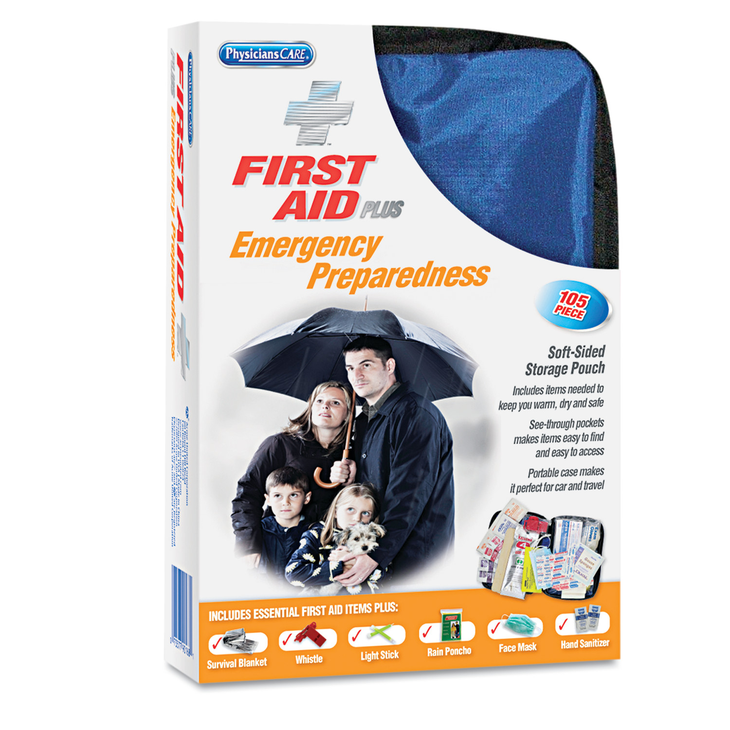 First Aid Only Essential Care First Aid Kit, Fabric Case, 105 pc