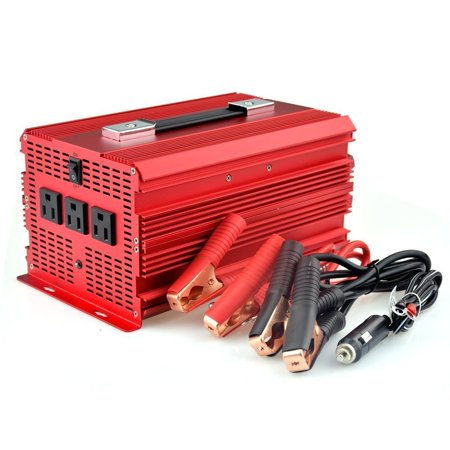 Bestek 3 Ac Outlets 2000W Car Power Inverter With Car Battery Clip   Car Cigarette Lighter Adaptor  Input   Output Isolated System  Built In 50A Fuses