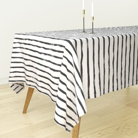 Tablecloth Black And White Striped Striped Brushstrokes Stripe Cotton Sateen