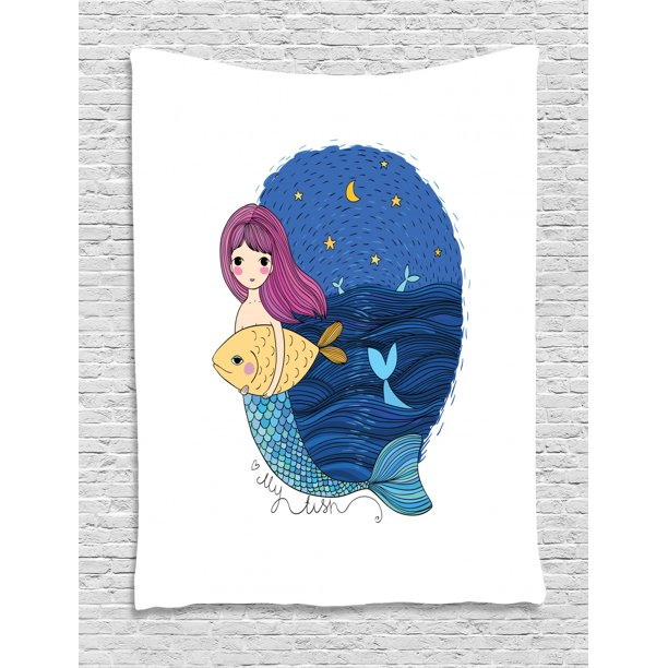Fantasy Tapestry Hand Drawn Style Mermaid Holding A Fish On Backdrop With Seascape At Night Time Wall Hanging For Bedroom Living Room Dorm Decor 60w X 80l Inches Multicolor By Ambesonne