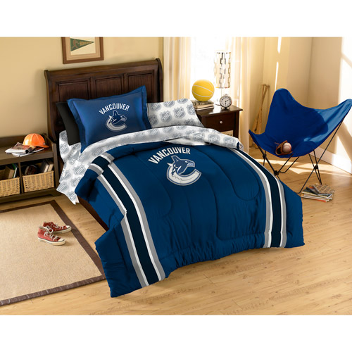 NHL Applique Bedding Comforter Set with Sheets, Canucks