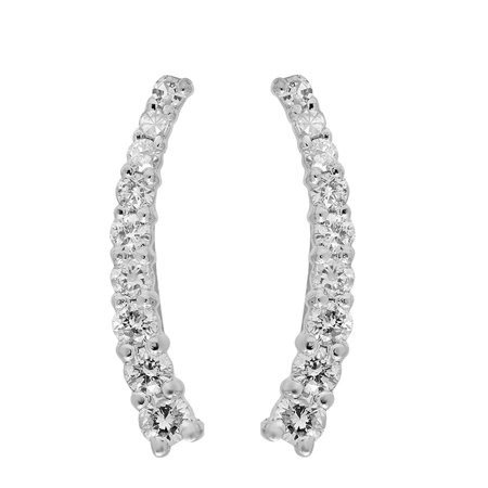 Dazzlingrock Collection 0.25 Carat (ctw) 18K Round White Diamond Ladies Crawler Climber Earrings 1/4 CT, White (18k Agate Earrings)