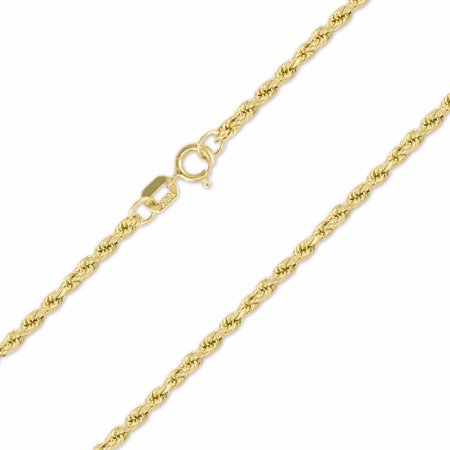 10K Yellow Gold 2mm Hollow Rope Chain Necklace Spring Clasp, 18 Inches 18 Inch Baby Rope Chain