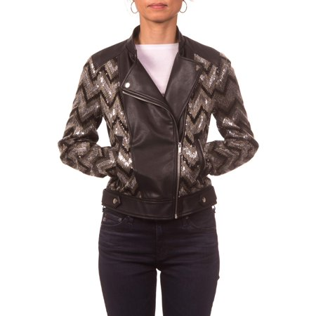 Nanette Lepore PU and Sequins Moto Jacket with Band Collar