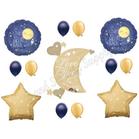 XL LOVE YOU TO MOON AND BACK Navy Gold Birthday Baby Shower Balloons Decorations
