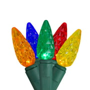 Brite Star 100ct Faceted LED C6 Christmas Lights Multi-Color - 33' Green Wire