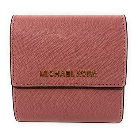 da7c7f157d9a Michael Kors - Michael Kors Jet Set Travel Small Card Case Trifold Carryall  Leather Wallet in Rose - Walmart.com