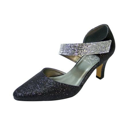 FLORAL Sarah Women Extra Wide Width Diagonal Strap Dress Heels